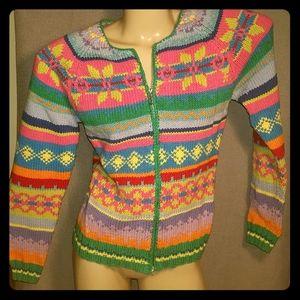 David Brooks zip sweater or cardigan hand knitted